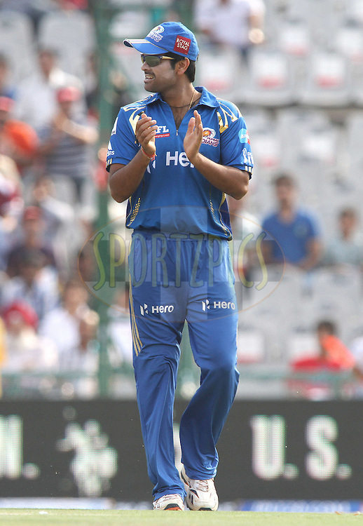 RP Singh of the Mumbai Indians during match 33 of the the Indian Premier League (IPL) 2012  between The Kings X1 Punjab and The Mumbai Indians held at the Punjab Cricket Association Stadium, Mohali on the 25th April 2012..Photo by Shaun Roy/IPL/SPORTZPICS