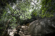 Ritigala. Partially restored ruins of an extensive monastic and cave complex. Sri Lanka