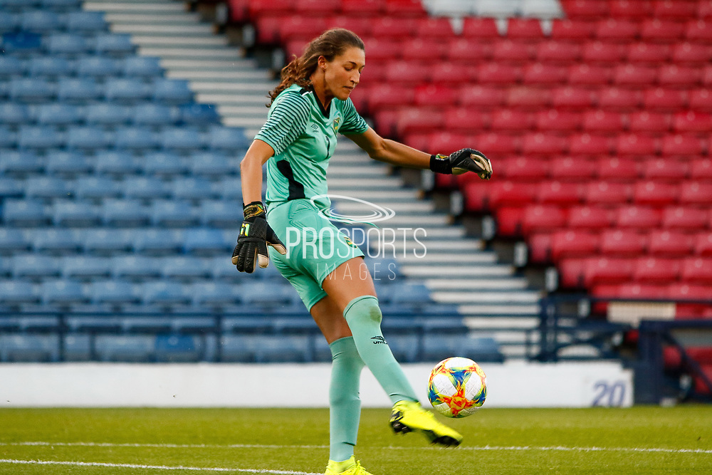 Jamaica Keeper Sydney SCHNEIDER (Univ. North Carolina (USA)) during the International Friendly match between Scotland Women and Jamaica Women at Hampden Park, Glasgow, United Kingdom on 28 May 2019.
