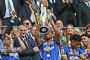 Darius Charles lifting the trophy following the Sky Bet League 2 play off final match between AFC Wimbledon and Plymouth Argyle at Wembley Stadium, London, England on 30 May 2016.