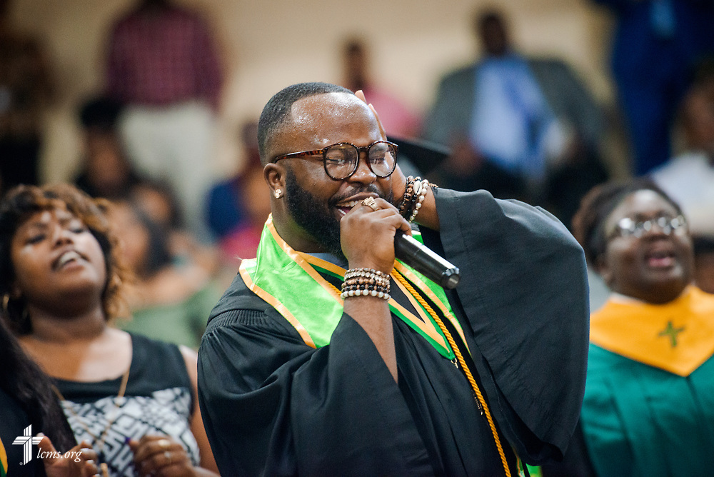 Linzell Tucker leads the choir during the 92nd and final Commencement Exercises on Saturday, April 28, 2018, in the Julius and Mary Jenkins Center at Concordia College Alabama in Selma, Ala. LCMS Communications/Erik M. Lunsford