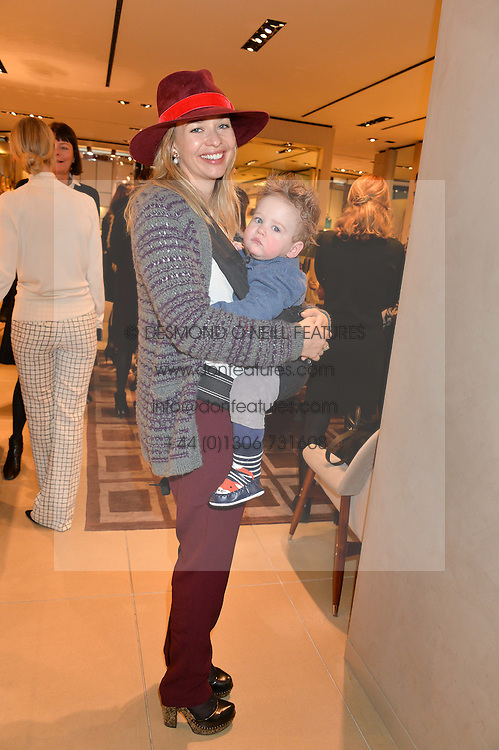 MARISSA HERMER and her son JAKE at a Valentine's Ladies breakfast hosted by Tod's and Carolina Bonfiglio at the Tod's boutique in New Bond Street, London on 10th February 2015.