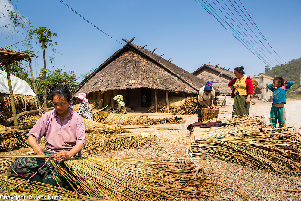 10 MARCH 2013 - VANG VIENG, LAOS: Hmong women weave thatch roofing material on the side of Highway 13 north of Vang Vieng. Thatch is still used in some traditional communities but it being replaced by corrugated tin.    PHOTO BY JACK KURTZ
