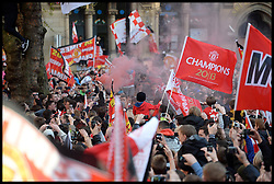 Manchester United fans in Albert Square, Manchester,  As Manchester United celebrate winning their 20th league title winning the Premier League, Monday May 13, 2013. Photo by: Andrew Parsons / i-Images