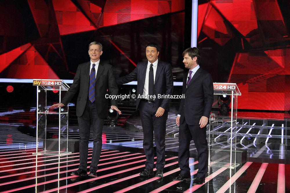 Milano, 29 Novembre 2013. Il confronto tra i candidati PD.<br /> Gianni Cuperlo, Matteo Renzi, Pippo Civati.