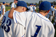25 MAY 2010 -- FLORISSANT, Mo. -- St. Louis University High School baseball players Willie Floros (23) and Austin Brauer (1) celebrate after the Junior Bills beat Hazelwood Central High School 12-0 at Hazelwood Central Tuesday, May 25, 2010. Photo © copyright 2010 by Sid Hastings.