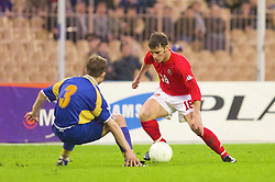 KIEV, UKRAINE - Wednesday, June 6, 2001: Wales' Jason Koumas in action against Ukraine during the FIFA World Cup Qualifying Group Five match at the Olimpiysky Stadium. (Pic by David Rawcliffe/Propaganda)