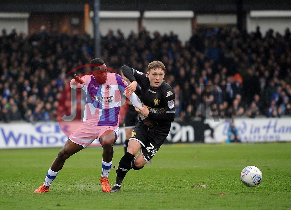 Bernard Mensah of Bristol Rovers challenges Callum Styles of Bury - Mandatory by-line: Neil Brookman/JMP - 30/03/2018 - FOOTBALL - Memorial Stadium - Bristol, England - Bristol Rovers v Bury - Sky Bet League One