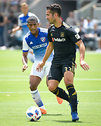 Los Angeles FC midfielder Benny Feilhaber (33) in action against FC Dallas midfielder Santiago Mosquera (11) during a MLS soccer match in Los Angeles, Saturday, May 5, 2018. (Eddie Ruvalcaba/Image of Sport)