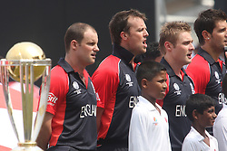 ©London News Pictures. 26/03/2011.England players Andrew Strauss, .Graeme Swann and Luke Wright singing the national Athem ahead of there World Cup quarter final clash against Sri Lnkana at the R.Premadasa stadium in Colombo Sri Lanka. Photo credit should read Asanka Brendon Ratnayake/London News Pictures