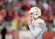 Nov 12, 2011; Fayetteville, AR, USA;  Tennessee Volunteers quarterback Matt Simms (12) before the start of a game against the Arkansas Razorbacks at Donald W. Reynolds Razorback Stadium. Arkansas defeated Tennessee 49-7. Mandatory Credit: Beth Hall-US PRESSWIRE