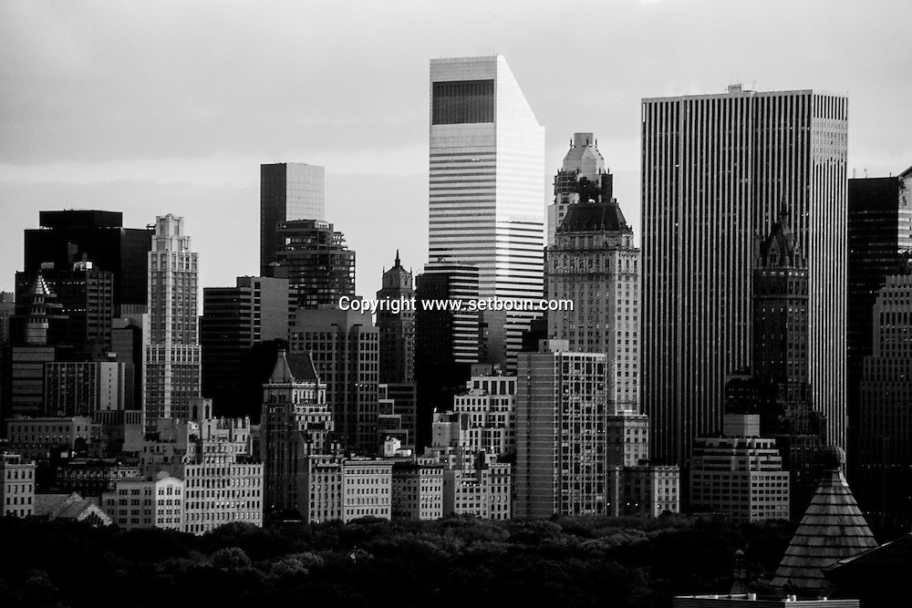 New York. panoramic view on central park skyline and buildings  from the Excelsior hotel New York  Usa  /  vue panoramique sur le skyline et les buildings de central park   New York  USa