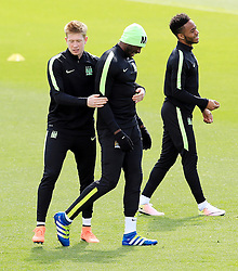 Kevin De Bruyne of Manchester City with Eliaquim Mangala and Raheem Sterling - Mandatory byline: Matt McNulty/JMP - 25/04/2016 - FOOTBALL - City Football Academy - Manchester, England - Manchester City v Real Madrid - UEFA Champions League Training Session
