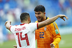 June 15, 2018 - Saint Petersburg, Russia - Group B Morocco v IR Iran - FIFA World Cup Russia 2018.Saman Ghoddos (Iran) and Ali Beiranvand (iran) celebrate  during the 2018 FIFA World Cup Russia group B match between Morocco and IR Iran at the Saint Petersburg Stadium on June 15, 2018 in Saint Petersburg, Russia. (Credit Image: © Matteo Ciambelli/NurPhoto via ZUMA Press)