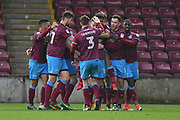 Scunthorpe United celebrate goal scored by Scunthorpe United forward Kevin van Veen (10) to go 1-1  during the EFL Sky Bet League 1 match between Scunthorpe United and Southend United at Glanford Park, Scunthorpe, England on 23 December 2017. Photo by Ian Lyall.