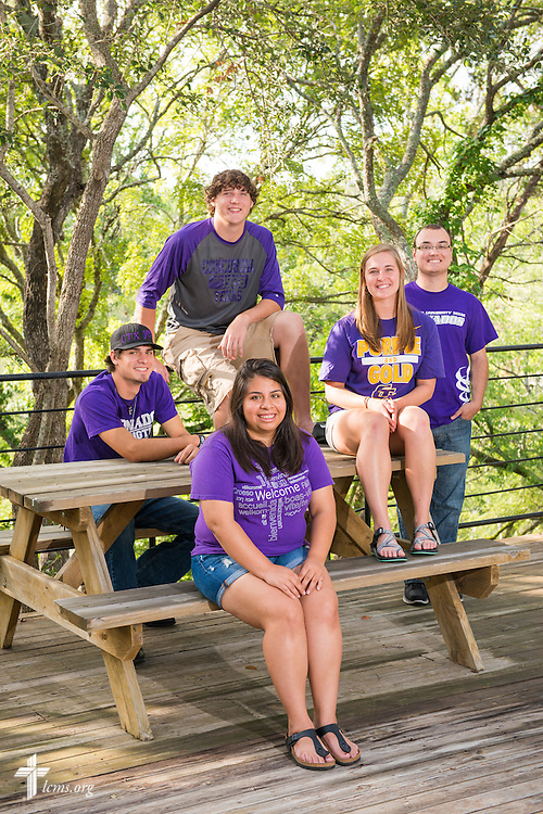 A portrait of students (L-R, back row) Benjamin Swafford, Jack Proctor, Anthony Rodriguez, (L-R, front row) Erica Sepeda, and Kacey Miller, at Concordia University Texas on Wednesday, July 16, 2014, in Austin, Texas. LCMS Communications/Erik M. Lunsford