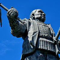 Tokugawa Ieyasu Sculpture at Shizuoka Station in Shizuoka, Japan <br /> In a plaza outside of JR Shizuoka Station are two bronze statues of Tokugawa Ieyasu. He was the founder of the Tokugawa shogunate, a dynasty who ruled Japan from 1603 until 1868. One sculpture shows him as a child when his name was Takechiyo and he was a hostage of the Imagawa clan at Sunpu Castle. This one portrays him as an adult during the height of his power. If you visit Sunpu Castle, you will learn Tokugawa Ieyasu extensively expanded the local fortress. On a grander scale, he also constructed the Edo Castle during his retirement (1605 – 1616). Japan's largest castle is now the Imperial Palace in Tokyo.