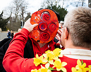 A fan having faceprint applied<br /> <br /> Photographer Simon King/Replay Images<br /> <br /> Six Nations Round 3 - Wales v England - Saturday 23rd February 2019 - Principality Stadium - Cardiff<br /> <br /> World Copyright © Replay Images . All rights reserved. info@replayimages.co.uk - http://replayimages.co.uk