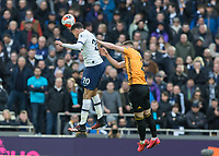 Football - 2019 / 2020 Premier League - Tottenham Hotspur vs. Wolverhampton Wanderers<br /> <br /> Dele Alli (Tottenham FC)  riseshigh to head the ball at The Tottenham Hotspur Stadium.<br /> <br /> COLORSPORT/DANIEL BEARHAM