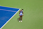 Venus Williams not happy with her missed shot early in her match on day 5 at the US Open