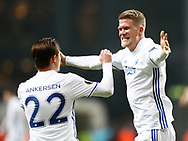 FOOTBALL: Andreas Cornelius (FC København) celebrates with Peter Ankersen after scoring his team's second goal during the UEFA Europa League round of 16, first leg, match between FC København and AFC Ajax at Parken Stadium, Copenhagen, Denmark on Marts 9, 2017. Photo: Claus Birch