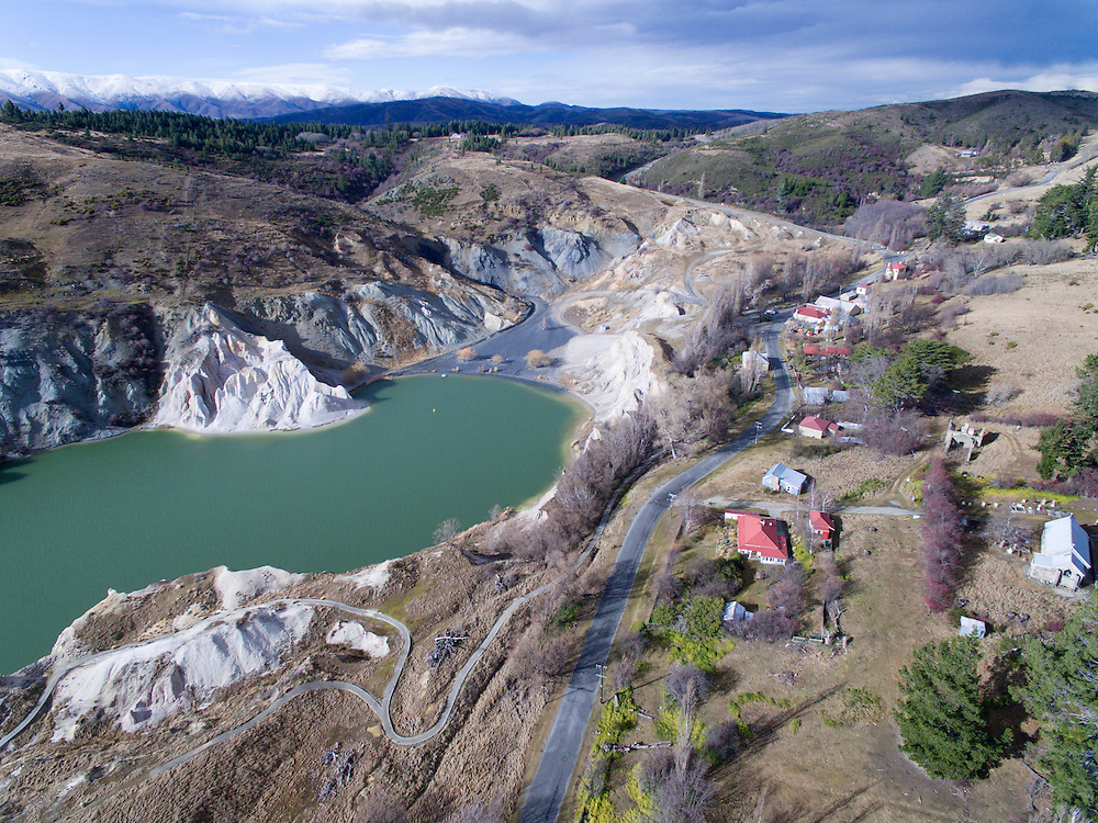 Blue Lake in Saint Bathans, Central Otago. A man-made lake, the result of sluicing operations during the gold rush in the late 1800s
