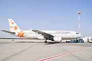 Israel, Ben-Gurion international Airport Israir Airbus A320-211 passenger jet on the ground