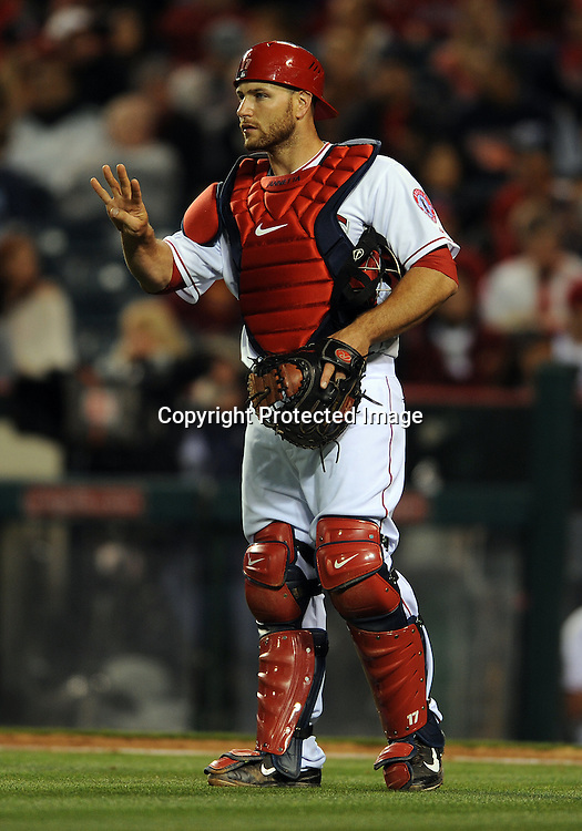 31 Mar. 2014: Los Angeles Angels of Anaheim catcher (17) Chris Iannetta on the field during an opening day game against the Seattle Mariners played at Angel Stadium of Anaheim.