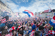 Afternoon of the World Cup Final 15 July 2018, Croatia vs France. A huge crowd gathers on the manin square, Trg Ban Jelačić, toZagreb, Croatia © Rudolf Abraham