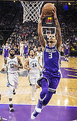 December 31, 2017 - Sacramento, CA, USA - The Sacramento Kings' George Hill (3) drives to the basket after a turnover by the Memphis Grizzlies on Sunday, Dec. 31, 2017, at the Golden 1 Center in Sacramento, Calif. (Credit Image: © Hector Amezcua/TNS via ZUMA Wire)