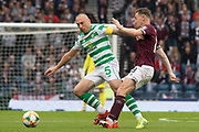 Celtic Captain Scott Brown hands off Steven MacLean of Hearts during the William Hill Scottish Cup Final match between Heart of Midlothian and Celtic at Hampden Park, Glasgow, United Kingdom on 25 May 2019.