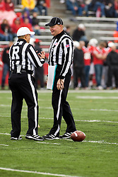 13 October 2012: Referee Gregory Allen and Umpire Brett Denker during an NCAA football game between the Youngstown State Penguins and the Illinois State Redbirds.  The Redbirds won the game by a score of 35-28 at Hancock Stadium in Normal Illinois