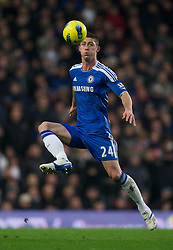 LONDON, ENGLAND - Sunday, February 5, 2012: Chelsea's new signing Gary Cahill makes his debut for the club against Manchester United during the Premiership match at Stamford Bridge. (Pic by David Rawcliffe/Propaganda)