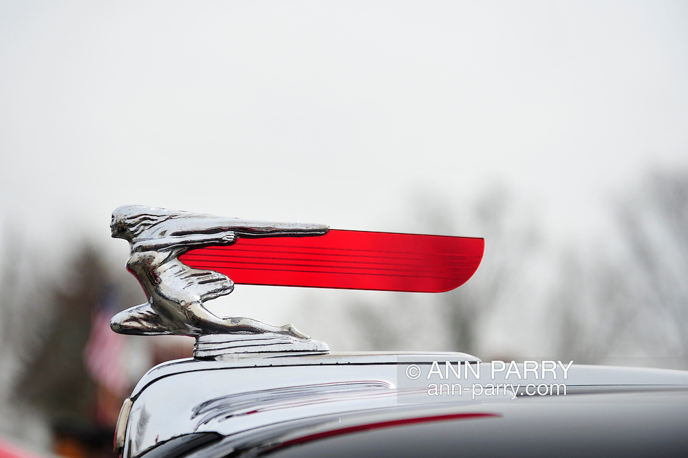 "March 31, 2013 - Garden City, New York, U.S. - This chrome and red hood ornament closeup is of black and wood 1946 Ford Super Deluxe ""Woodie"" station wagon in the 58th Annual Easter Sunday Vintage Car Parade and Show sponsored by the Garden City Chamber of Commerce. Hundreds of authentic old motorcars, 1898-1988, including antiques, classic, and special interest participated in the parade."
