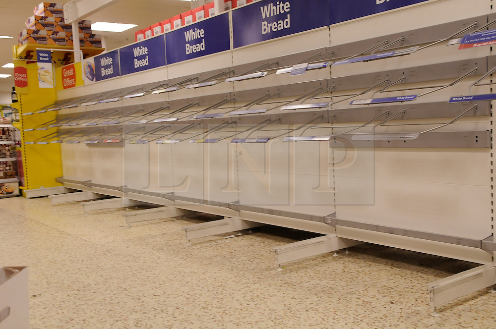 © under license to London News Pictures.3.12.2010 Empty shelves at a superstore. Snow in Orpington,Kent. . Picture credit should read Grant Falvey/London News Pictures