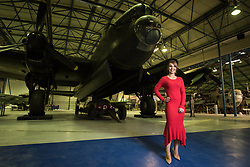 © Licensed to London News Pictures. 21/11/2018. London, UK.  <br /> TV presenter and Strictly Come Dancing star Katie Piper poses for a photograph in front of an Avro Lancaster aircraft in the Royal Air Force Museum London to launch the National Lottery's Thanks To You campaign in London, England on November 21, 2018. The Thanks To You promotion which runs from December 3 until December 9 sees venues, which have received Lottery funding, offering free offers and/or free entry to people in possession of a National Lottery ticket. Some of the UK's best-loved venues will be taking part, including: the Natural History Museum, Science Museum, Kew Gardens, Eden Project, Jodrell Bank, the National Railway Museum, V&A Dundee, National Museum Wales and over 100 National Trust sites.  Photo credit: Oli Scarff/LNP