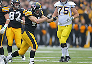 November 05, 2011: Iowa Hawkeyes linebacker James Morris (44) is pumped up after a play during the first quarter of the NCAA football game between the Michigan Wolverines and the Iowa Hawkeyes at Kinnick Stadium in Iowa City, Iowa on Saturday, November 5, 2011. Iowa defeated Michigan 24-16.