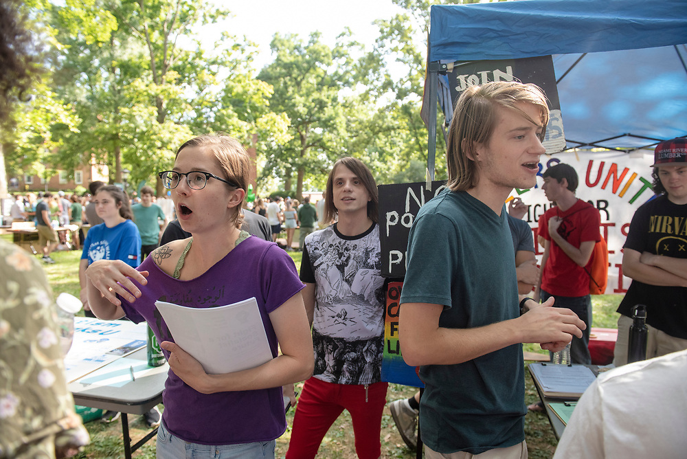 A socialist organization tries to recruit people during the 2019 Involvement Fair. Photo by Hannah Ruhoff