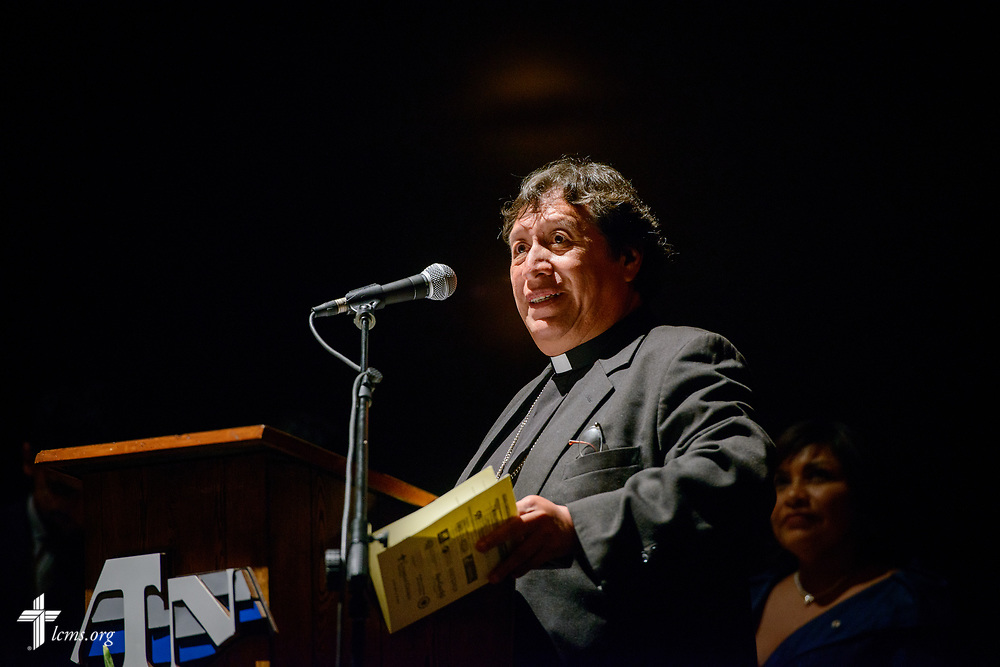 The Rev. Dr. Abdiel Orozco, president of the Iglesia Lutheran en Guatemala (Lutheran Church in Guatemala), speaks at the Teatro Nacional during a celebration of the 500th anniversary of the Lutheran Reformation on Thursday, Oct. 5, 2017, in Guatemala City, Guatemala. LCMS Communications/Erik M. Lunsford