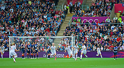 COVENTRY, ENGLAND - Friday, August 3, 2012: Canada's captain Christine Sinclair (#12) celebrates scoring the second goal from a free-kick during the Women's Football Quarter-Final match between Great Britain and Canada, on Day 7 of the London 2012 Olympic Games at the Rioch Arena. Canada won 2-0. (Photo by David Rawcliffe/Propaganda)