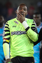 April 19, 2018 - Brugge, BELGIUM - Charleroi's goalkeeper Parfait Mandanda looks dejected after the Jupiler Pro League match between Club Brugge and Sporting Charleroi, in Brugge, Thursday 19 April 2018, on day four of the Play-Off 1 of the Belgian soccer championship. BELGA PHOTO VIRGINIE LEFOUR (Credit Image: © Virginie Lefour/Belga via ZUMA Press)