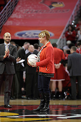 14 February 2016: Terri Ferguson is honored at half court.  Terri, a nurse saved a mans life by giving CPR for over 7 minutes while waiting for rescue to arrive. The Illinois State Redbirds v Bradley Braves at Redbird Arena in Normal Illinois (Photo by Alan Look)