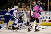 KELOWNA, CANADA - OCTOBER 15:  Nick Merkley #10 of the Kelowna Rockets shoots on net at the Kelowna Rockets game on October 15, 2016 at Prospera Place in Kelowna, British Columbia, Canada.  (Photo By Cindy Rogers/Nyasa Photography,  *** Local Caption ***  Artyom Minulin #5 of the Swift Current Broncos