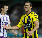 Wellington Pheonix's  Emmanuel Muscat appeals to the ref against the Perth Glory during the A-Leagues minor semi final held at nib Stadium, Perth, Australia on Saturday 7 April 2012. Photo Theron Kirkman / Photosport.co.nz