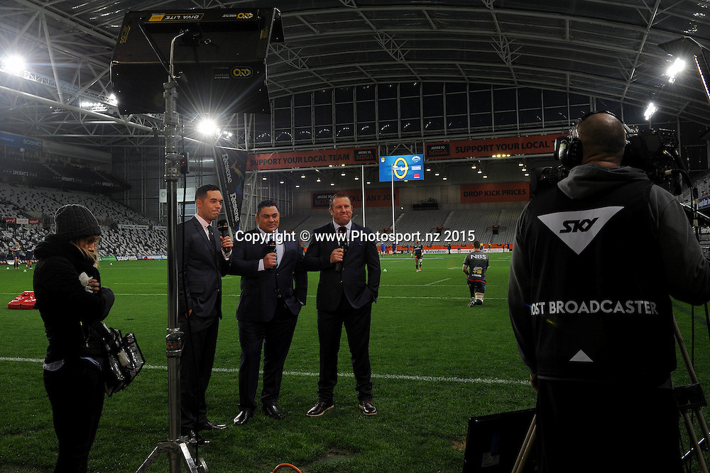 Sky Sport commentators are observed, prior to the ITM Cup match between Otago and Tasman, held at Forsyth Barr Stadium, Dunedin, New Zealand, 4 September 2015. Credit: Joe Allison / www.Photosport.nz