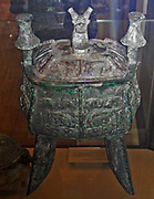 Bronze ritual wine vessel, Jia design. Shang dynasty, 13th-12th century BC.  (Jia, with a square or rectangular cross-section were extremely rare.  They were only employed by high ranking members of Shang society.)