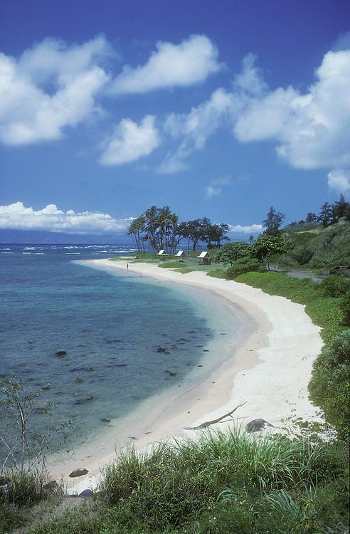 Waialua Beach on the southeast coast of Molokai, with Lanai island on the horizon.