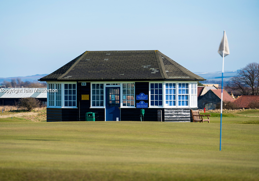 Starters hut at Gullane Golf Club in East Lothian, Scotland, united Kingdom