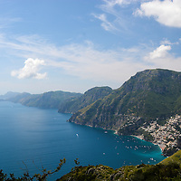 View of Positano, as seen from Sentiero Degli Dei (Walk of the Gods), along the stunning Amalfi Coast