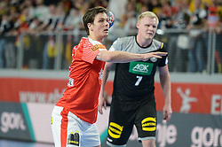 LAUGE SCHMIDT Rasmus of Denmark during handball match between National teams of Germany and Denmark on Day 4 in Main Round of Men's EHF EURO 2018, on January 21, 2018 in Arena Varazdin, Varazdin, Croatia. Photo by Mario Horvat / Sportida